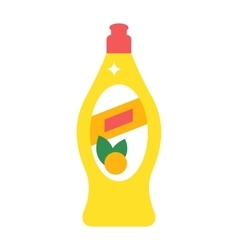 Washing dishes detergent flat vector
