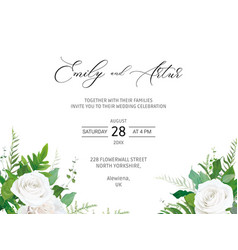 Wedding invitation invite save date card floral vector
