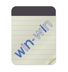 Win-win lettering on notebook template vector
