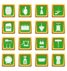 Wine icons set green vector