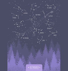 Witchcraft card with zodiac constellations vector