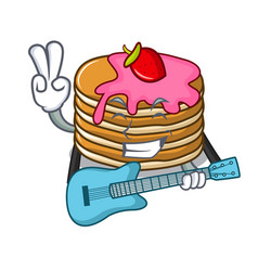 With guitar pancake with strawberry mascot cartoon vector