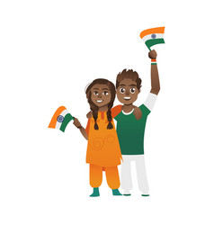 young couple man and woman holding indian flags vector image