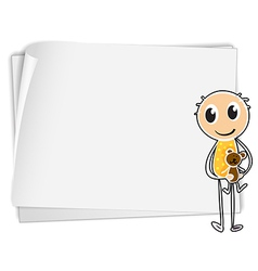 A boy holding a teddy bear beside a white paper vector image