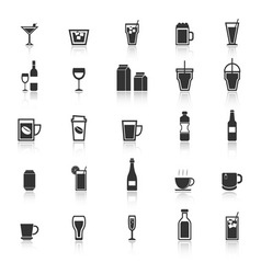 Drink icons with reflect on white background vector image vector image