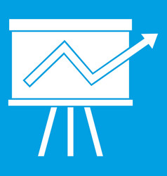 flip chart with statistics icon white vector image