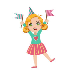 girl with two flags part of kids at the birthday vector image vector image