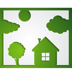 House tree cloud stickers vector image