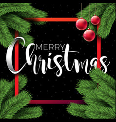 merry christmas on black background vector image