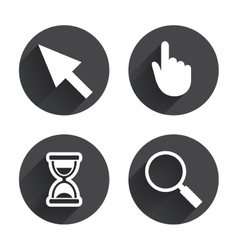 Mouse cursor icon Hourglass magnifier glass vector image vector image