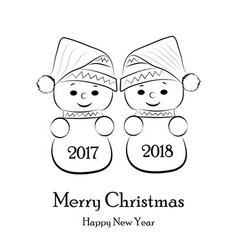 postcard for the new year and christmas with vector image
