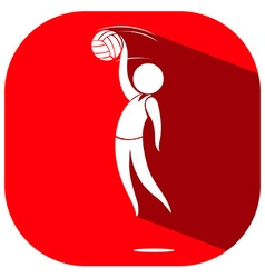 Sport icon design for volleyball on red badge vector image vector image