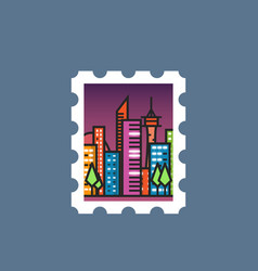 stamp with night city vector image vector image
