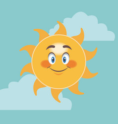 Cheerful cartoon sun smile facial expression image vector