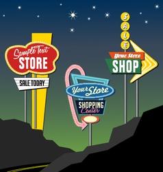 retro roadside neon signs 2 vector image