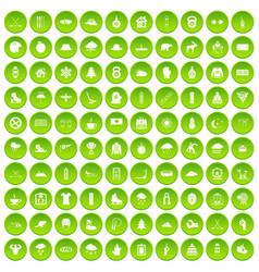 100 winter holidays icons set green circle vector image vector image