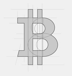 bitcoin sign sketch vector image