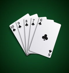 Poker cards straight flash hand template vector