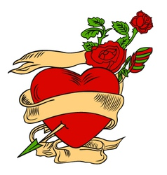 rose and heart emblem vector image