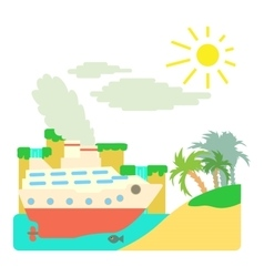 Ship in sea near island concept flat style vector image