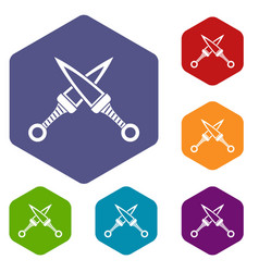 crossed japanese daggers icons set hexagon vector image vector image