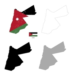 Jordan country black silhouette and with flag on vector image vector image