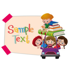 paper template with kids in purple car vector image