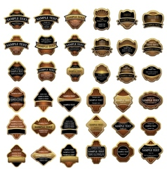 Retro labels in gold and black vector image