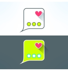 simple chat icon with heart in modern flat vector image vector image