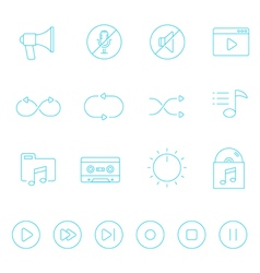 Thin lines icon set - audio controller vector image vector image