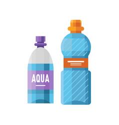 Water plastic sport bottle transparent mineral vector