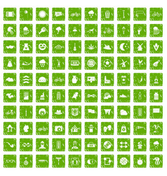 100 bicycle icons set grunge green vector
