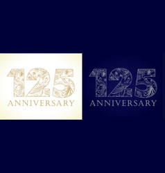 125 anniversary vintage silver gold vector image