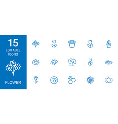 15 flower icons vector
