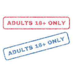 Adults 18 plus only textile stamps vector