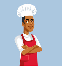 african male chef standing with arms crossed vector image