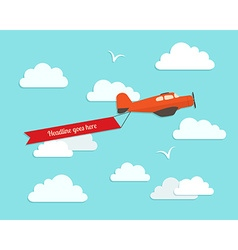Airplane in the cloudy sky Flat style vector