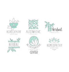 Alternative medicine logo design set herbal vector