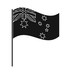 Australian flag icon in black style isolated on vector image