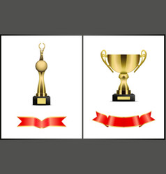 awards and red ribbons set vector image
