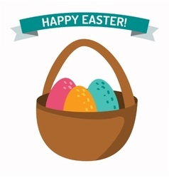 Basket with easter eggs isolated on white vector image