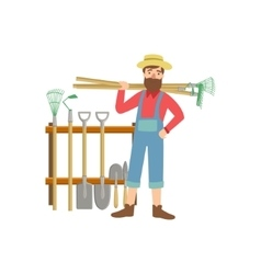 Bearded Man With Stack Of Farming Equipment vector