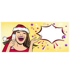 Beautiful young woman in santa claus hat in the vector