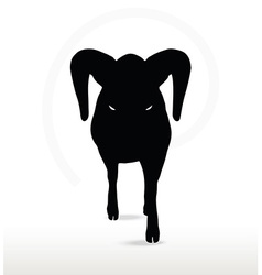 Big horn sheep silhouette in down the hill pose vector