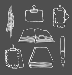 big set books and pen vector image