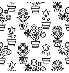 black and white line flower pots seamless vector image