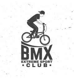 bmx extreme sport club badge concept vector image