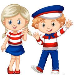 Boy and girl waving hello vector