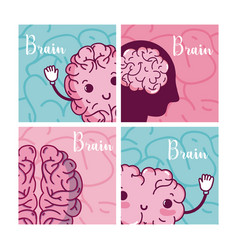 brains cartoons in square frames vector image