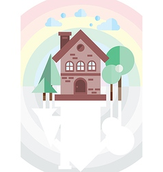 brick house on a background of the rainbow vector image